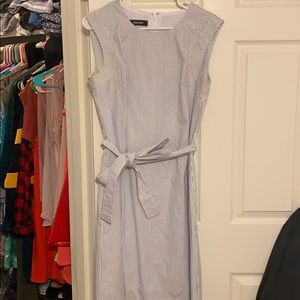 Nine West White & Blue Striped Dress with belt